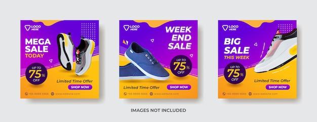 Banner de venda de esportes, loja de compras de esportes, banner de modelo de mídia social