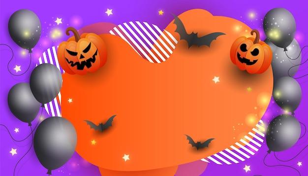 Banner de venda de feliz dia das bruxas com símbolos de guirlanda cor de abóbora