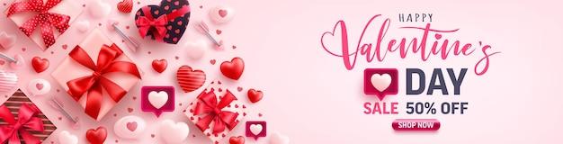 Banner de venda de feliz dia dos namorados com o símbolo do coração das luzes led string e elementos dos namorados na cor rosa