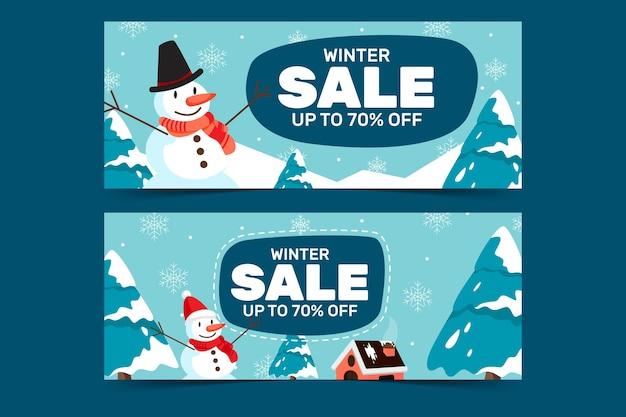 Banner de venda de feliz natal com boneco de neve