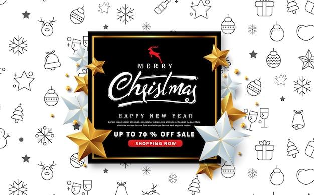 Banner de venda de feliz natal com estrela de prata e dourada.