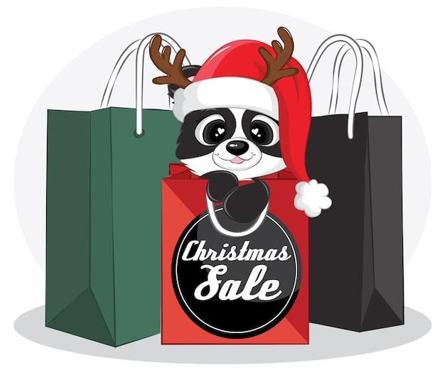 Banner de venda de feliz natal com panda preto e sacola de compras