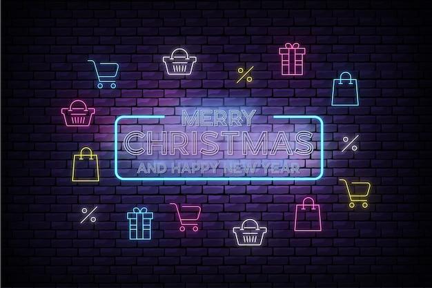 Banner de venda de feliz natal e ano novo com ícones de natal