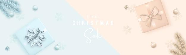 Banner de venda de feliz natal e feliz ano novo