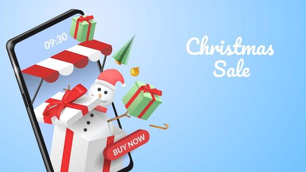 Banner de venda de feliz natal no celular com ilustração de smartphone