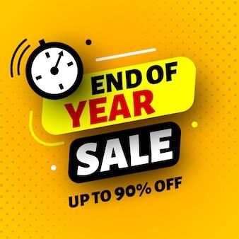 Banner de venda de final de ano com relógio