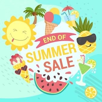 Banner de venda de final de temporada de verão com frutas e sorvete