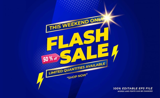 Banner de venda de flash moderno com cor azul