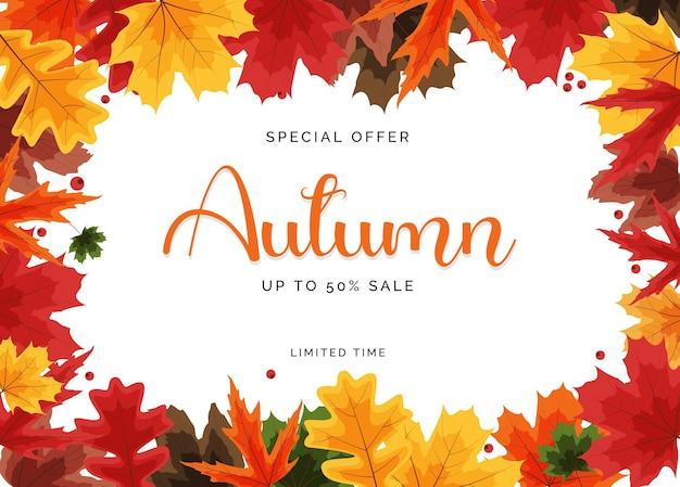 Banner de venda de folhas de outono brilhantes. cartão de desconto empresarial. ilustração vetorial