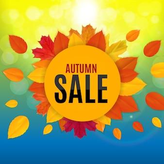 Banner de venda de folhas de outono brilhantes. cartão de desconto empresarial