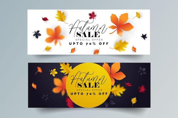 Banner de venda de folhas de outono do banner de promoção de desconto para compras sazonais outonais