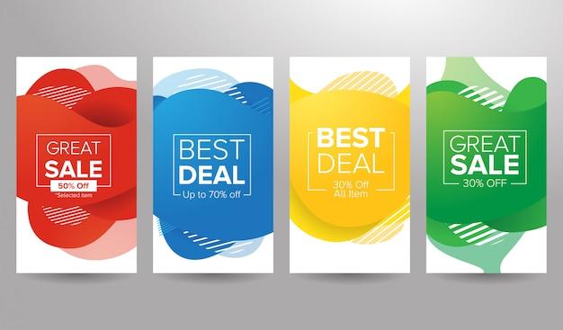 Banner de venda de fundo líquido colorido