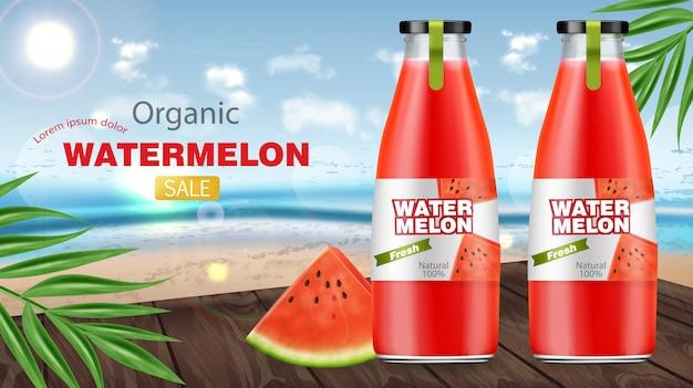 Banner de venda de garrafas de suco de melancia