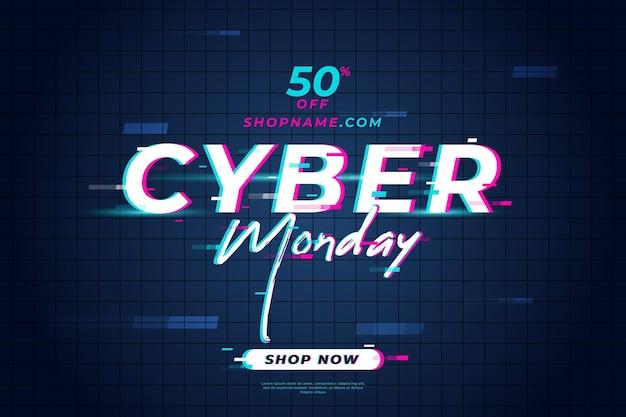 Banner de venda de glitch cyber segunda-feira