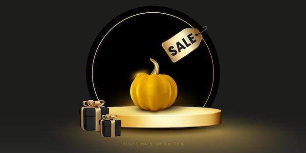 Banner de venda de halloween abstrato com fundo preto pódio dourado e abóbora moderna realista