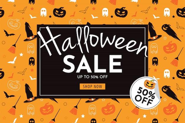 Banner de venda de halloween com abóbora, chapéu de bruxa, vassoura, fantasma e morcego