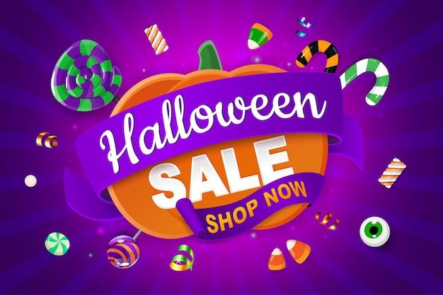Banner de venda de halloween com abóbora e doces