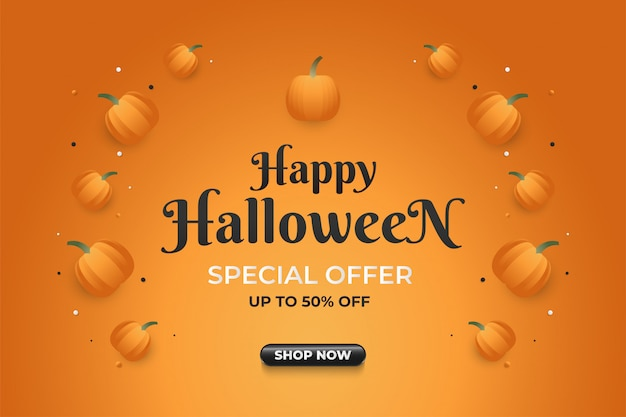 Banner de venda de halloween com abóbora em fundo laranja