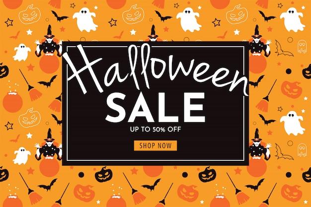 Banner de venda de halloween com bruxa, abóbora, vassoura, fantasma e morcego.