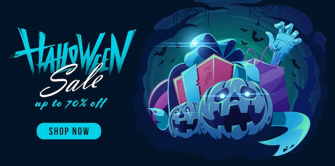 Banner de venda de halloween com desenho de letras e botão de pressão