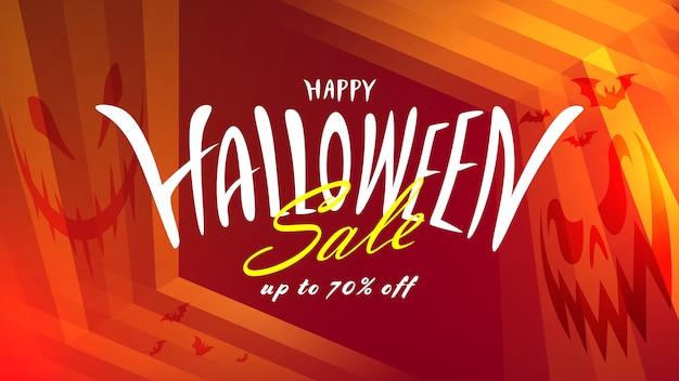 Banner de venda de halloween com desenho de letras.
