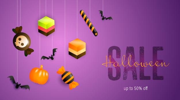 Banner de venda de halloween com doces e guloseimas