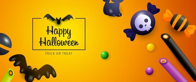 Banner de venda de halloween com doces e morcegos