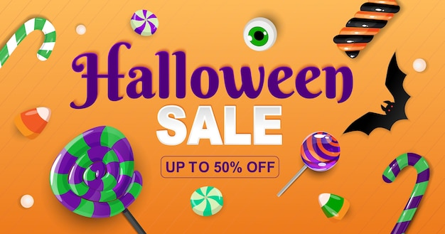 Banner de venda de halloween com doces.