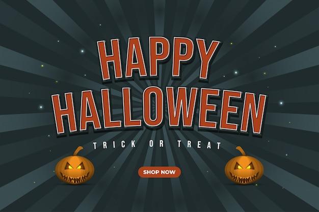Banner de venda de halloween com fundo sunburst e abóbora sorridente em estilo vintage