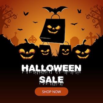 Banner de venda de halloween com silhueta de morcego e abóbora
