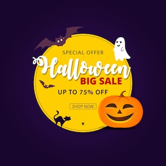Banner de venda de halloween com símbolos de férias abóbora e fantasma