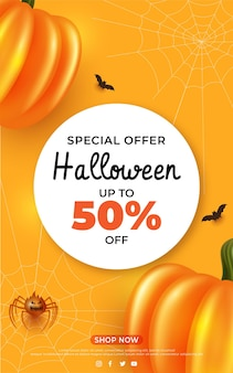 Banner de venda de halloween com texto de fonte de letras de abóbora de teia de aranha de morcegos