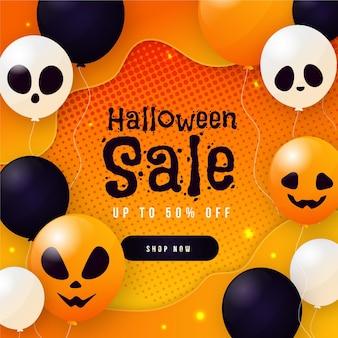 Banner de venda de halloween de design plano com balões