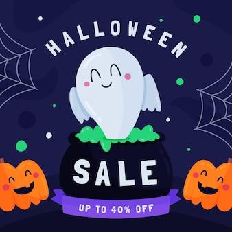 Banner de venda de halloween de design plano com fantasma