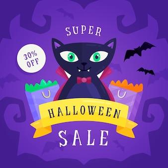 Banner de venda de halloween de design plano com gato