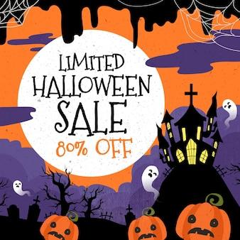 Banner de venda de halloween de design plano