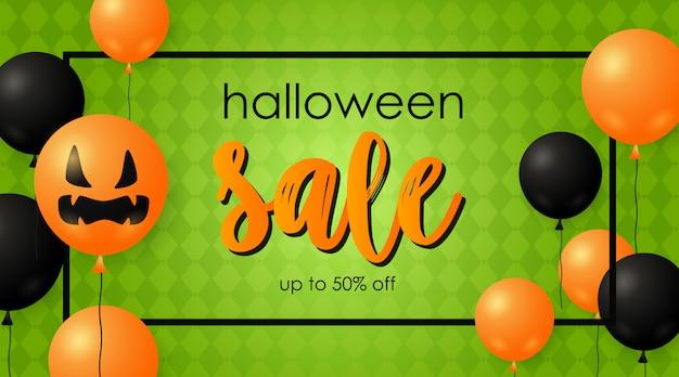 Banner de venda de halloween e balões de abóbora