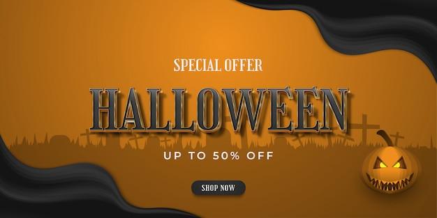 Banner de venda de halloween para compras online com fundo grave