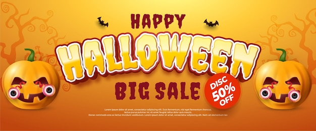 Banner de venda de halloween realista com abóboras assustadoras, ilustração vetorial de vista superior.