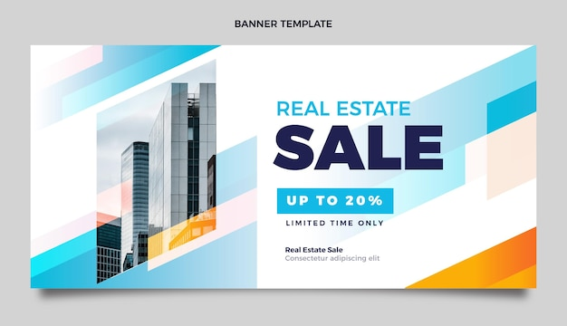 Banner de venda de imóveis em gradiente