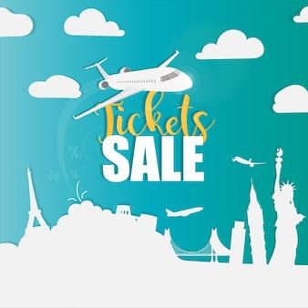 Banner de venda de ingressos. plano de fundo para viagens. estilo de arte em papel