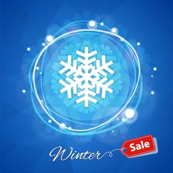 Banner de venda de inverno com floco de neve