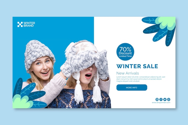 Banner de venda de inverno com mulheres