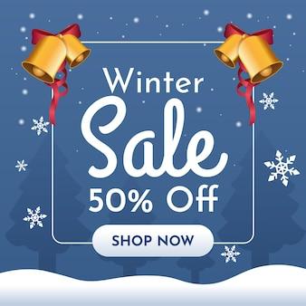 Banner de venda de inverno com sinos dourados e flocos de neve