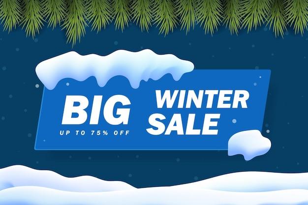 Banner de venda de inverno com tampa de neve, floco de neve e fundo de brilho. neve de malha de gradiente e paisagem de fronteira de árvore de natal. ilustração vetorial