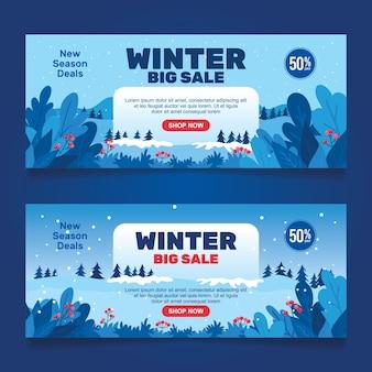 Banner de venda de inverno em estilo simples