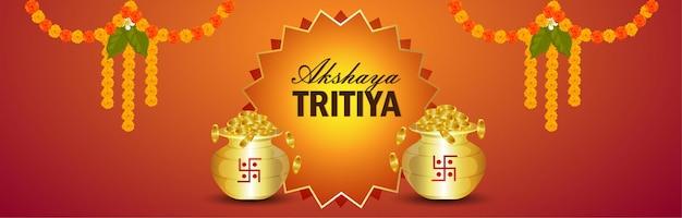 Banner de venda de joias de celebração akshaya tritiya com kalash criativo de moeda de ouro
