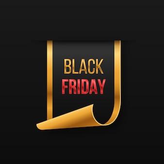 Banner de venda de luxo de sexta-feira negra letras de texto dourado banner de venda logotipo do pôster
