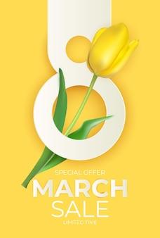 Banner de venda de março com fundo de tulipa