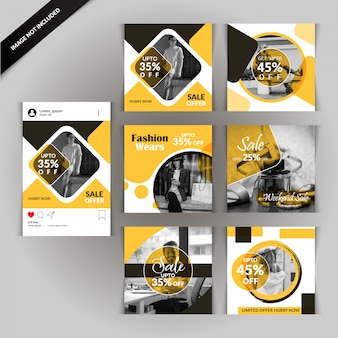 Banner de venda de mídia social de moda amarelo e cinza
